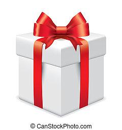 photo-realistic, caja, vector, regalo, ilustración