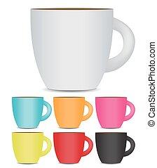 photo-realistic, conjunto de café, taza, aislado, fondo., vec, blanco