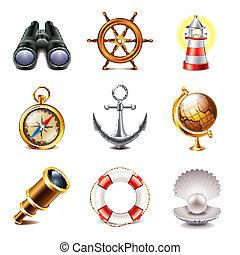 photo-realistic, conjunto, marina, vector, iconos
