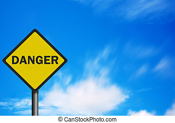 Photo realistic 'danger' sign, with space for text overlay