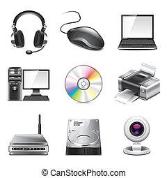 photo-realistic, dator, sätta, vektor, ikonen