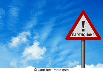 Photo realistic 'earthquake' sign, with space for text overlay