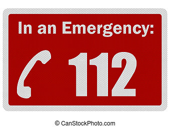 Photo realistic 'Emergency 112' sign, isolated on white