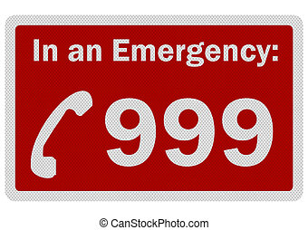 Photo realistic 'Emergency 999' sign, isolated on white -...