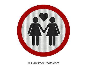 Photo realistic \'female partners\' sign, isolated on white...