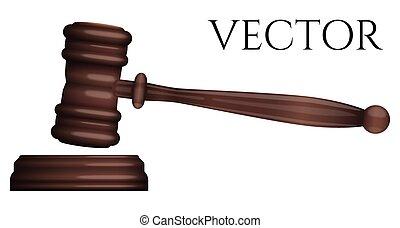 photo-realistic, freigestellt, rechtsprechung, vektor, richterhammer, weißes