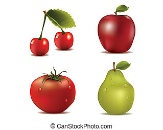 photo-realistic, frisk, vektor, frukter