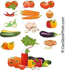 photo-realistic, grupo, vegetables., colorido, grande, vector.