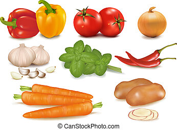photo-realistic, grupp, vegetables., färgrik, stor, vektor
