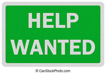 Photo realistic 'help wanted' sign, isolated on white