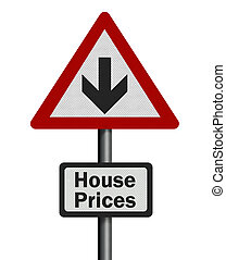 Photo realistic 'house price fall' sign, isolated on white -...