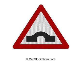 photo-realistic \'hump-backed bridge\' sign, isolated -...