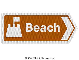 photo-realistic, information, touriste, signe, series:, 'beach'