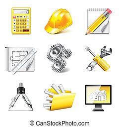 photo-realistic, ingeniería, vector, conjunto, iconos