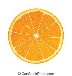 photo-realistic, naranja, slice., vector, ilustración