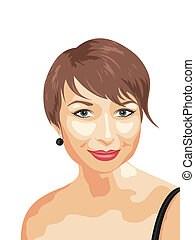 photo realistic portrait of smiling girl - Illustration...
