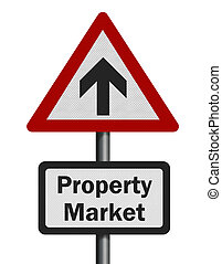 Photo realistic reflective metallic 'property market growth' sign, isolated on a pure white background.