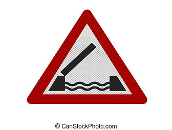 Photo realistic reflective metallic 'Lifting bridge' sign, isolated on a pure white background.