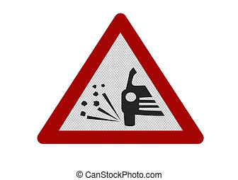 Photo realistic reflective metallic 'loose chippings' sign, isolated on a pure white background.