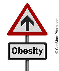 Photo realistic 'rising obesity' sign on white - Photo...