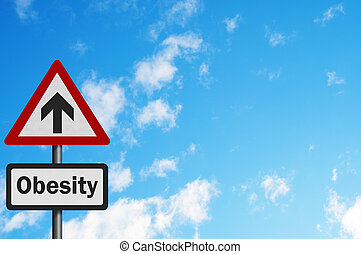 Photo realistic 'rising obesity' sign
