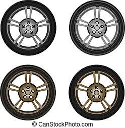 photo-realistic, rueda, vector