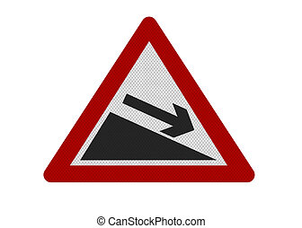 photo realistic sign depicting \'downward slope\'. Isolated...