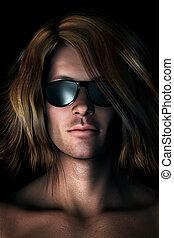 photo-realistic, sonnenbrille, abbildung, mann