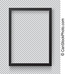 Photo Realistic Square Black Blank Picture Frame, hanging on...