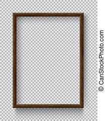 Photo Realistic Square Wood Blank Picture Frame, hanging on ...
