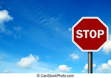 Photo realistic 'stop' sign against a bright blue sky