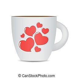 photo-realistic, taza para café, aislado, fondo., negro, v, blanco