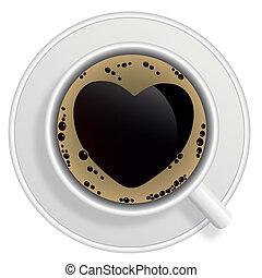 photo-realistic, taza para café, cima, aislado, fondo., negro, vector., blanco, vista
