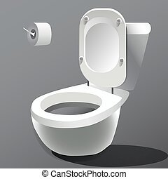 photo-realistic,  toilet, kom, Vrijstaand,  Vector, witte