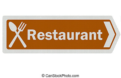 Photo realistic tourist information sign - 'restaurant' -...