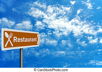 Photo realistic tourist information sign - 'restaurant'
