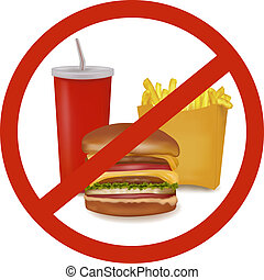Fast food danger label (colored). - Photo-realistic vector...
