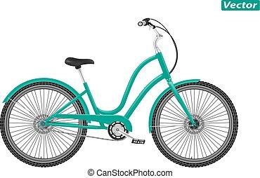 photo-realistic, vettore, bicicletta