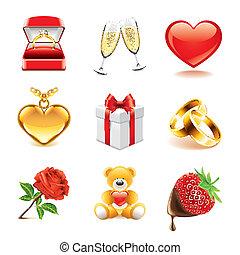 photo-realistic, vettore, set, romantico, icone