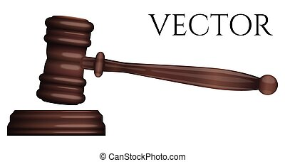 photo-realistic, vrijstaand, rechter, vector, gavel, witte