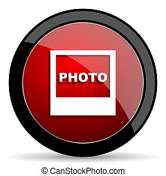 photo red circle glossy web icon on white background - set440