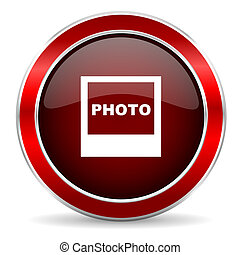 photo red circle glossy web icon, round button with metallic border