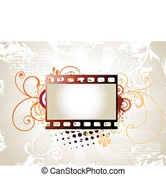 Photo reel vector art - vector art of photo reel with floral...