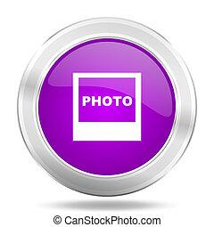 photo round glossy pink silver metallic icon, modern design web element