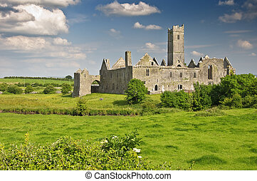 scenic ancient irish castle in county clare, ireland