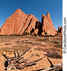 scenic sandstone evening capture at arches national park - ...