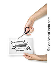 Photo, Scissors and Hand