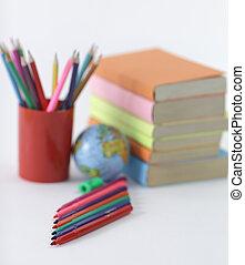 .photo, scuola, co, feltro, fondo, provviste, penne, bianco