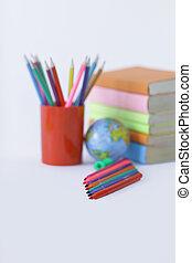 .photo, scuola, penne, spazio, feltro, fondo, provviste, bianco, copia