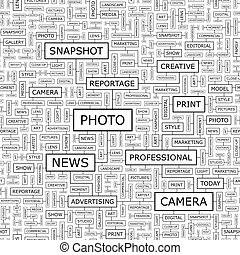PHOTO. Seamless pattern. Word cloud illustration.